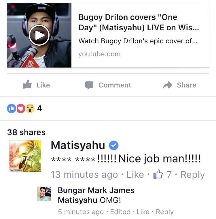 LOOK: Matisyahu praises Bugoy Drilon's cover of his reggae
