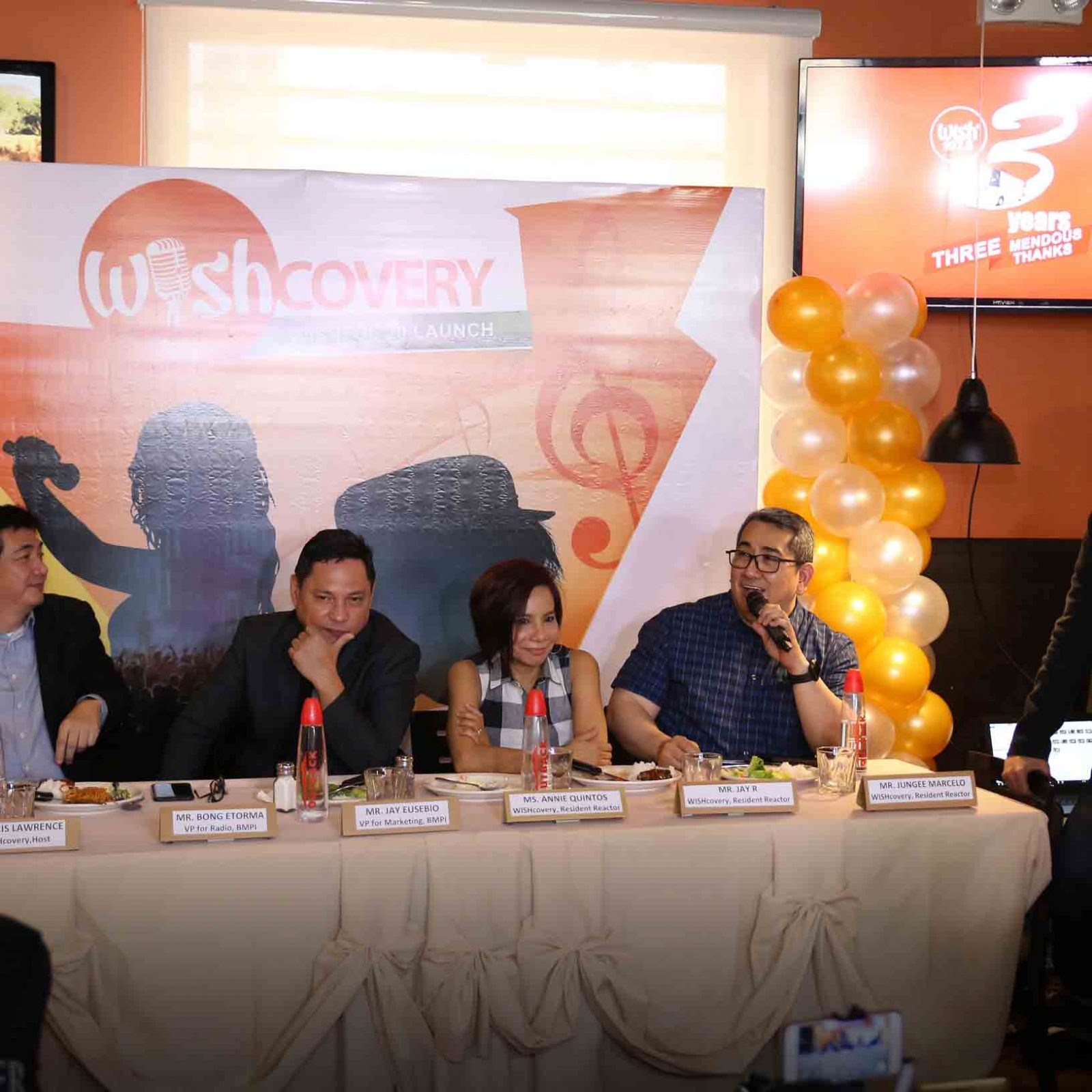 (L-R) BMPI VP for Radio Bong Etorma, VP for TV and Marketing Mr. Jay Eusebio, Ms. Annie Quinto, and Mr. Jungee Marcelo get interviewed by Wish 107.5's Operations Supervisor Mr. Jeck Deocampo during the Wishcovery press conference held at the Outback Steakhouse.   (Photo courtesy of Photoville International)