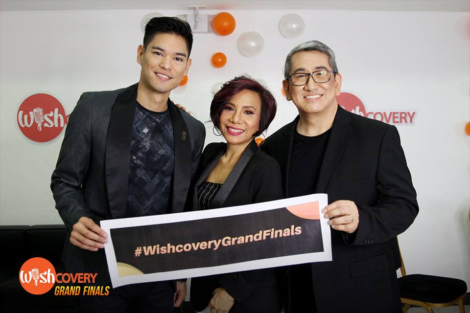 Flanked by fellow successful music artists, Jay R Sillona (left) and Jungee Marcelo Productions (right), is The Company's very own Ms. Annie Quintos Uy. Excited to be part of a historic moment in the music scene, they share a memorable shot with tonight's Wishcovery exclusive hashtag. #WishcoveryGrandFinals