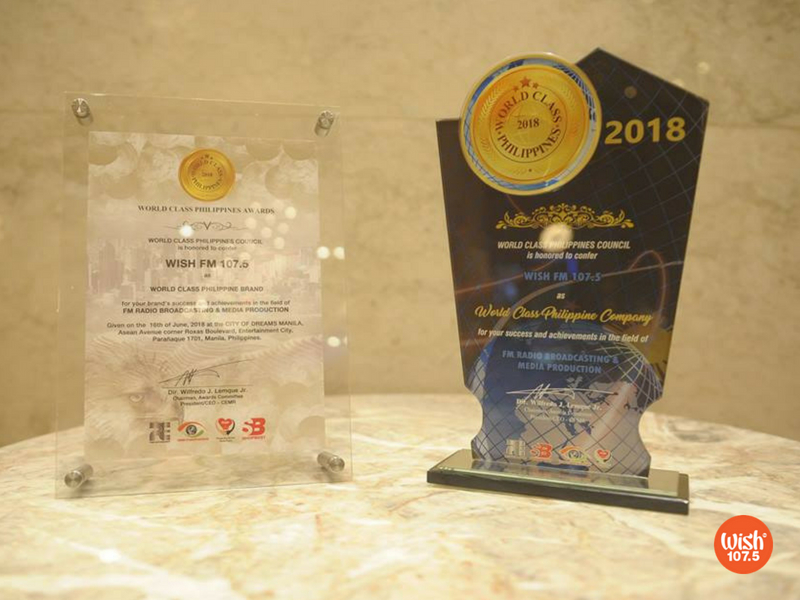 2018 World Class Philippines Awards Recognizes Wish 107 5 as One of