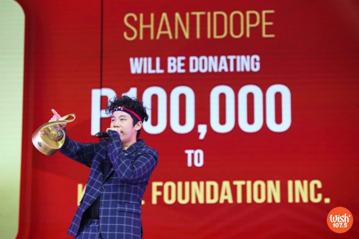 """Rap prodigy Shanti Dope is awarded with the Wish Hip-hop Song of the Year for his autobiographical track, """"Shantidope,"""" which features his mentor, labelmate and fellow WMA awardee, Gloc-9."""