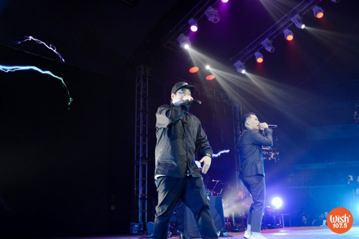 """Rappers Gloc-9 and Al James share the WMA stage as they performed their collaborative hit, """"Lagi."""""""