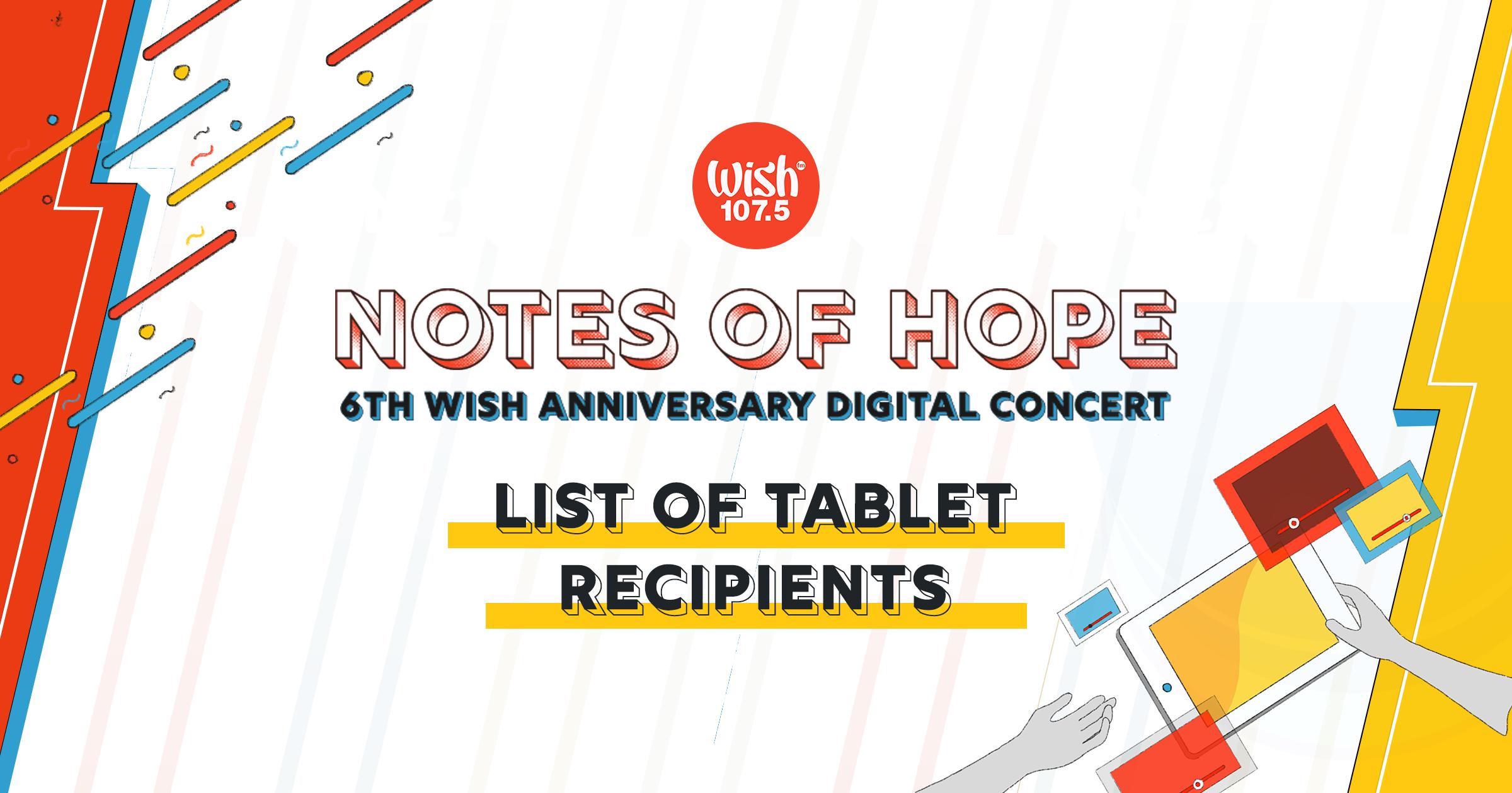 Notes of Hope Tablet Recipients Thumbnail